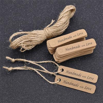 100 Pcs Kraft Paper Hang Tags Craft String Label Blank Handmade with Love Gifts