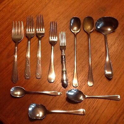 Mixed Lot Vintage Silver plated flatware 11 pieces, Rogers, Winthrop, Tudor More