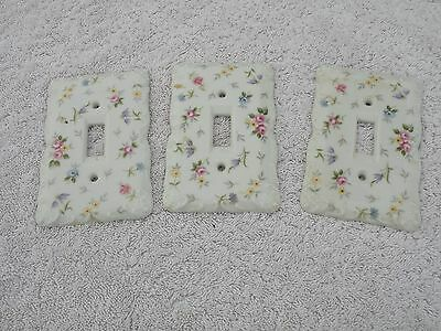 Lot of 3 - Vintage Ceramic Porcelain Light Switch Covers - Floral Design
