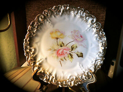 Vintage Dresden Germany Plate with Pink and Yellow Roses