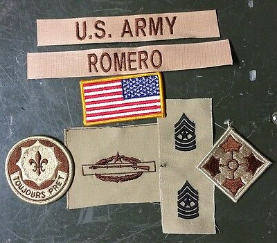 Airsoft 8 US ARMY patch Set DCU Desert Uniform Konvolut 2nd ACR Stryker SGT RUSSELL Flag