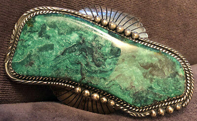Navajo Ida Payton Signed Astonishing Huge Sky Horse Natural Turquoise Bracelet