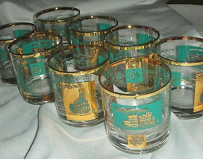 8 Vtg Mid Century Turquoise & Gold Southern Comfort Steamboat Low Ball Glasses