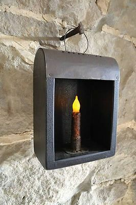 Primitive Antique Vintage Old World Black Metal / Iron Candle Lantern