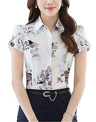 Women's Chiffon Collared Floral Printed Button Down Shirt Short Sleeve Blouse