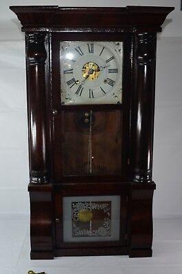 Beautiful Large Antique Seth Thomas Eight Day Wood Clock With Key Working