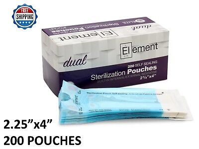 200 ELEMENT 2.25 x 4 Self Seal Sterilization Pouch Dual Indicator Dental Tattoo