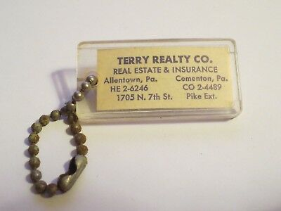 Vintage TERRY REALTY CO Advertising Keychain Allentown Cementon PA SIGN