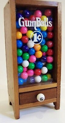 Vintage glass & wood wooden 1 cent penny Gumball Machine Dispenser GUMBALLS TOO!