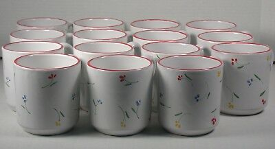 15 Hand Decorated Italy Pottery Mugs