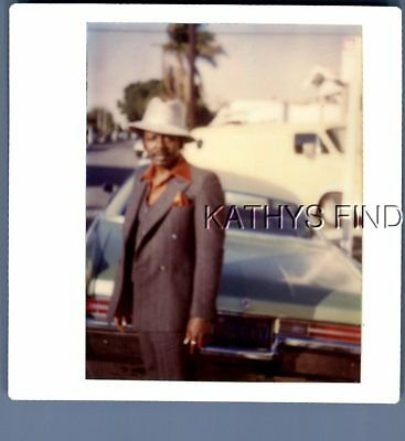 Found Color Kodak M+5923 Black Man In Suit And Hat Posed Behind Old Car