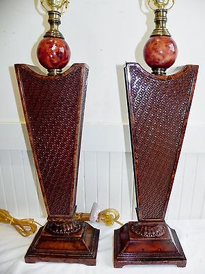 Vintage Pair of Murray Feiss Woven Wicker Wooden Burl Table Lamps New Old Stock