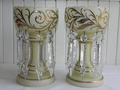 """Antique Pair 8.5"""" Bohemian Opaline Glass Mantel Lusters Lustres Crystal Spears"""