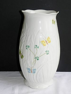 "Vintage Belleek Vase 10"" Summer Butterfly Irish Porcelain Ireland Shamrock"
