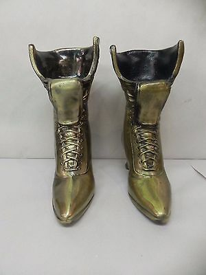 Vintage Pair Of Cast Brass Vases Victorian Edwardian Lace Up Shoe Boot Vase