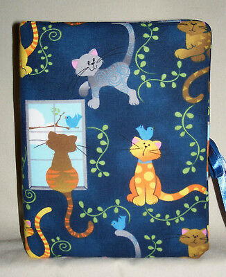 """Cat or Kittens Handcrafted Handmade Photo Album Holds 80 4""""X6"""" New Blue"""