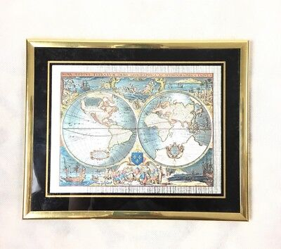 Vtg Framed Blaeu Wall Map Old New World Foil Two Hemispheres 10.25x8.25 Janszon