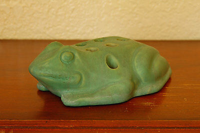 Gorgeous Rare Antique Roseville Pottery Large Flower Frog Early Carnelian Glaze