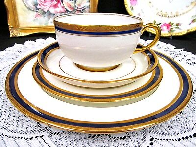 Limoges France Tea Cup And Saucer Trio Cobalt Blue Trio Mixed Teacup Etched Gold