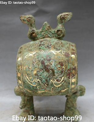 Rare China Old Bronze Gilt drum Ancient Birds Man People Lift Beat Drum Statue