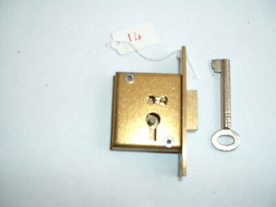 """1 x Old solid brass mortise Lock & key Unused Old Stock  2 1/ 2"""" x 1 3/8"""" x 1/2"""""""