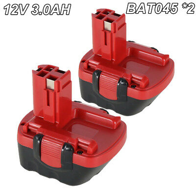 2 x 12V 3.0Ah Ni-MH Cordless Battery for Bosch BAT043 BAT045 BAT046 Power Driver