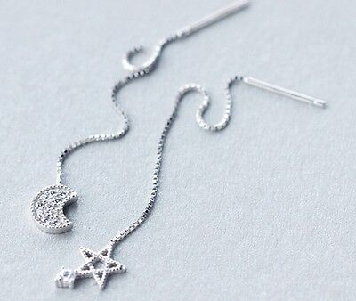925 Sterling Silver Earrings Ear Threads Star and Moon with CZ
