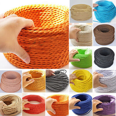Two Core Twisted Vintage Style Coloured TWIST Braided Fabric Cable Lamp Flex Kit