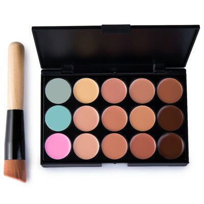15 Colors Contour Face Cream Makeup Concealer Palette + Makeup Brush Set