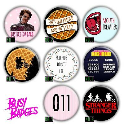 STRANGER THINGS - 35mm Badges - 011 Eggo Justice for Barb 2018 Season 1 2 NEW
