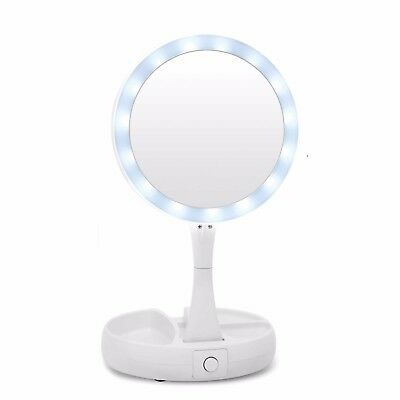 LED Lighted Folding Vanity and Travel Mirror, Frosted White Makeup Mirror IT