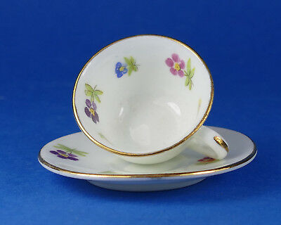 FOLEY CHINA - Miniature CUP & SAUCER - Flowers & Leaves - Salesmans Sample ?