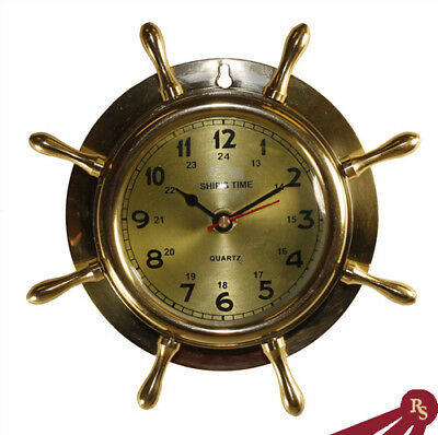 "8"" SHIP WHEEL CLOCK - Brass - NAUTICAL SHIPWHEEL CLOCKS"