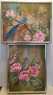 Blue Bird with Beautiful Pink Roses Hand Painted Framed  Canvas Art Set of Two