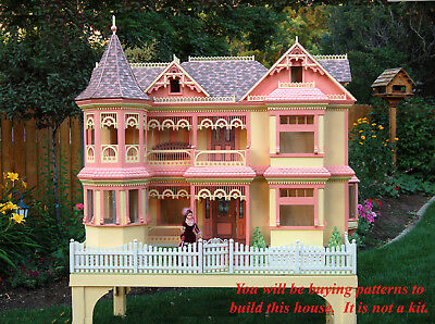 Woodworking plans to build a Victorian Barbie doll house.