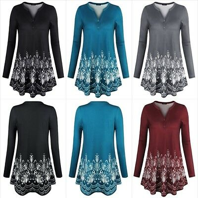 a32b8855c8017 Women's Long Sleeve V Neck Floral Flare Tunic Tops Casual Shirts Size S -  2XL