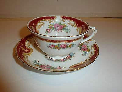 Tuscan England Naples Pattern Cup/Saucer, Florals/Red/Gold Tone