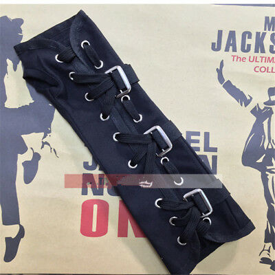 MJ Michael Jackson Punk BAD Jam Black White Arm Brace Canvas Glove Collection