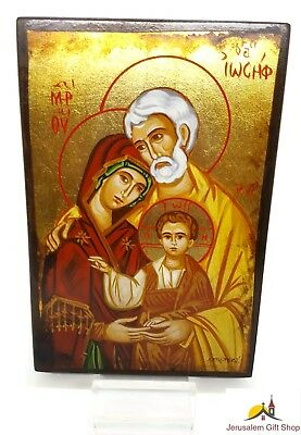Unique Orthodox Icon Holy Family Greek Byzantine Hand Painted on REAL Old Wood