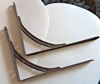 """Vintage Industrial Metal Shelf Brackets Large Not Reproductions 10""""X8"""""""