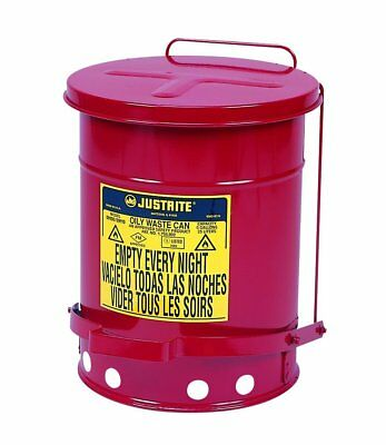 Waste Oil Can With Lid Red Steel Safety Oily Flammable Liquids Drain Hazardous