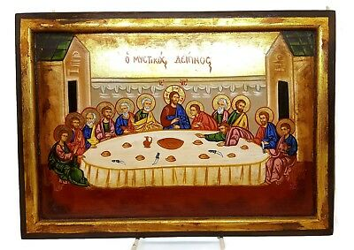 Unique Orthodox Icon Last Supper Greek Byzantine Hand Painted on REAL Old Wood