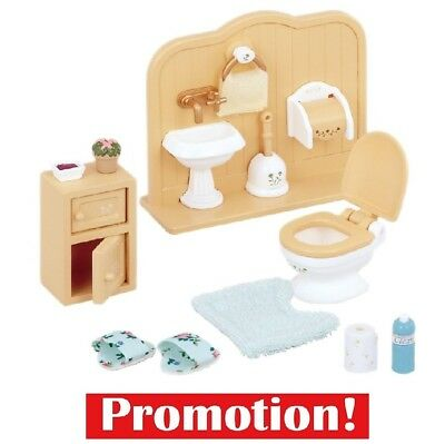 Sylvanian Families Toilet Set Includes Lovely Accessories for Lavatory New HQ