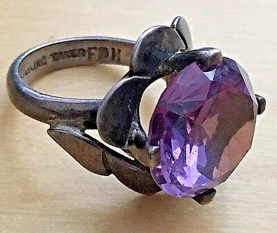 Vintage Signed Modernist Sterling Silver Ring  FH Taxco Mexico Purple Stone