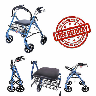 WALKING frame with 4 wheels, brakes and seat - £23.00   PicClick UK