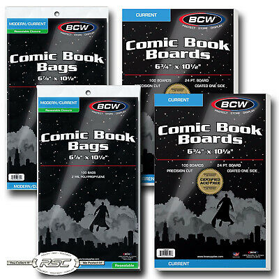 200 - BCW CURRENT Backing Boards & RESEALABLE 2-Mil Poly Comic Book Bags!