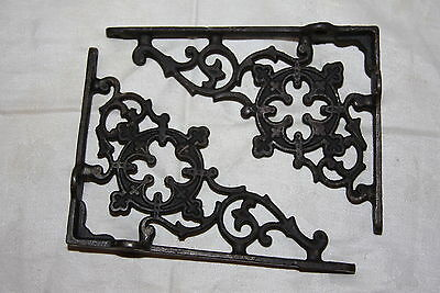Antique Ornate Small Cast Iron Floral Scroll Wall Mount Shelf Brackets
