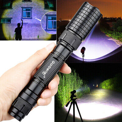 Tactical Police 90000Lumens T6 18650 LED Flashlight Aluminum Torch Zoomable Lamp