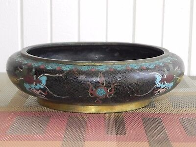 Antique Cloisonne Brass Dragon Bowl Chinese Turquoise Black Enamel Stamped