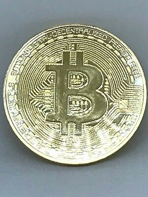 BITCOIN!!! Gold Plated Physical Collectable Bitcoin in acylic case FAST SHIPPING